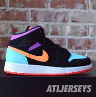 Nike Air Jordan 1 Mid GS Black Total Orange Multi Color 554725-083 Size