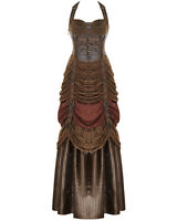 Punk Rave Steampunk Dress Long Brown Lace VTG Victorian Faux Leather Wedding
