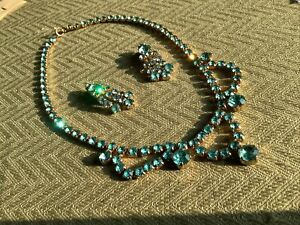 Vintage Aqua Rhinestone Swag Necklace And Earrings