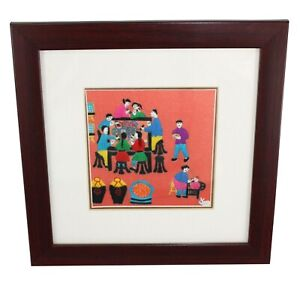 Chinese hand embroidered picture. 24cm x 24cm. Entirely hand stitched. Framed.