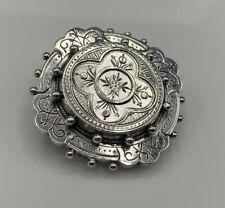 Superb Etruscan Victorian Solid Sterling Silver Locket Back Mourning Brooch