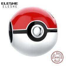 ELESHE Real 925 Sterling Silver Pikachu Elf Bead Pokemon Ash Ball Charm Fit O…