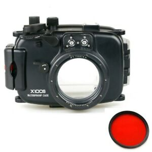 Meikon 40m/130ft Underwater Camera Housing Case for Fujifilm X100S w/ Red Filter
