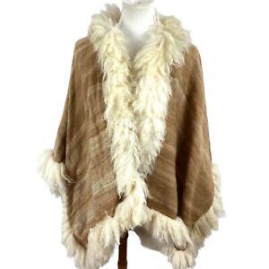 Wool Poncho Faux Fur Trim Wrap Beige Warm Throw Coverup Winter Plus Size Cape