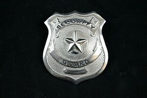 "Security Guard Badge 2 1/2"" x 2 1/8"" High Relief Metal"