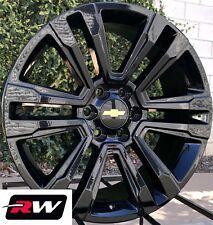 "Chevy Silverado OE Replica Wheels 2017 2018 GMC Denali 22"" inch Gloss Black Rims"