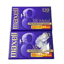 Lot of 2 Maxell Hi 8 Xr-Metal Professional Qual 120 Camcorder 60 Min. Blank Tape