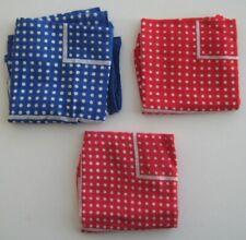 Lot of 3 Vintage Red Blue Polka Dot Cotton Handkerchief Hankie Bandana