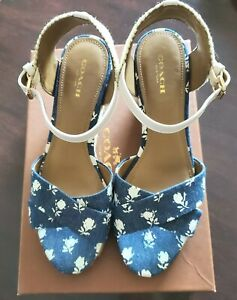 COACH HARDING SIGNATURE DENIM FLOWER BLUE WEDGE ESPADRILLES SIZE 7 - BRAND NEW!