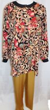 Maggie Sweet Tunic Pants Suit 2 Piece Outfit Floral Print Shirt Gold size Small