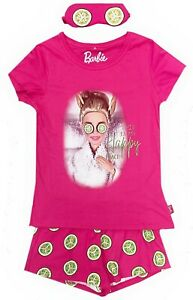 Ladies Womens Short Barbie Pyjamas Eye Mask Spa Nightwear Happy Place 8-22