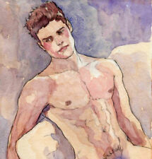 ORIGINAL LARGE MALE NUDE Watercolor - GIOVANNI- by GERMANIA