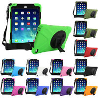 Hybrid Heavy Duty Stand Shockproof Cover Case For iPad Tablets+Shoulder Strap