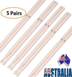5Pairs Drum Sticks 5A Classic Maple Drumsticks Wooden Tip Instrument Accessories