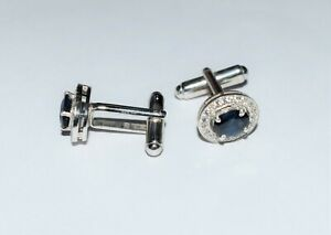 Natural Blue Sapphire Gemstone 925 Sterling Silver Men's Gift Cuff link Jewelry