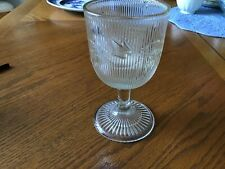 Ribbed Ivy Early American Pattern Glass Wine Glass Goblet