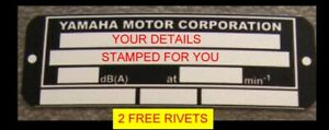 YAMAHA ID STAMPED FOR YOU SCOOTER BIKE FRAME ID VIN-CHASSIS-PLATES FREE RIVETS