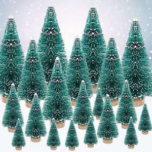 EMAGEREN 35 PCS Miniature Christmas Trees Artificial Sisal Snow Frost Trees Mini