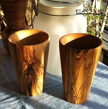 2x copa de olivenholz acoso recipientes para bebidas madera
