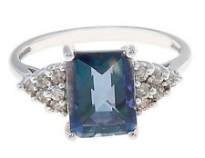 14Kt White Gold Created Blue Mystic Topaz with Genuine Diamonds Ladies Ring