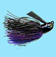NEW Stanley 1-1/4 oz BLACK/BLUE/PURPLE Rattler Flat Eye Glitter Head Jig