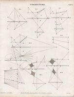 1816 Georgiano Stampa ~Stereotomy~ Vari Diagrammi Disegni
