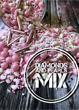 Diamonds and Pearls Sprinkle Mix Valentines Day Wedding Engagement Pink Edible