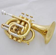 Professional Gold Lacquer C Key Pocket Trumpet Horn Monel Valve New Case