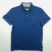 Ted Baker Mens Polo Shirt 3 SMALL Short Sleeve Blue Regular Fit Cotton