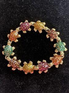 Kenneth Jay Lane Tropical Turtle Bracelet - NWOT - Vintage - RARE - Multicolor