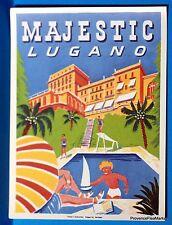 Hotel MAJESTIC  LUGANO Swiss Original  luggage label  BD88