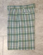 Alan Flusser Mens Size 38 Plaid Button/Zip With Pockets Comfy Style Golf Shorts