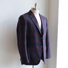 Isaia Sport Coat Size 52 Maroon Plaid Capri Cash Tussah