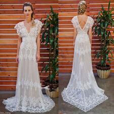 V Neck A-line Cap Sleeve Wedding Dresses