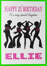 PERSONALISED 21st Birthday Card (Disco) GIRL FEMALE DAUGHTER NIECE SISTER 21