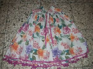 GIRLS Sz 3 - 4 YEARS white & multicoloured TREE CHILD floral dress CUTE!