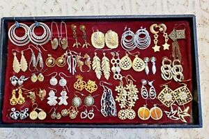 36 Piece Vintage & Modern Mixed Tone Dangle/Drop Pierced Earring Lot