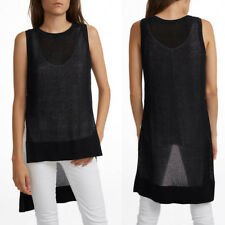White + Warren $175 Cotton Blend Open Knit Hi Low Black Tank Top Tunic Cover up
