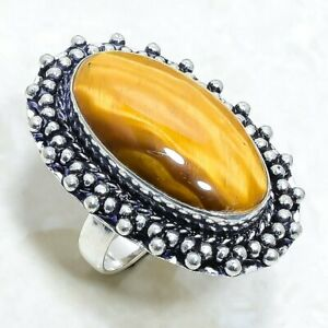 Tiger'S Eye Gemstone Handmade Ethnic Silver Jewelry Ring Size 9 RLG7933