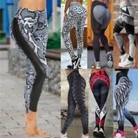 Women's Sports Print Yoga Pants Fitness Leggings Gym Stretch Workout Trousers AM