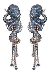 Fully Magerit Octopus 10ct Aquamarine Gemstone Fashion 925 Silver Women Earrings