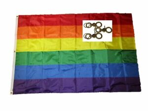 6x10 Embroidered Gay Pride Rainbow 210D Nylon Flag 6'x10' Grommets clips large