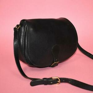 Authentic Coach Black Leather Saddle Bag Flap Shoulder Crossbody Made in the USA