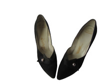 Vtg Palizzio 1950s Shoes 8.5 Black Suede Heels Pointed Toe Andrea Last Mad Men