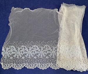 Vintage 1920s Cream Net Blue Embroidered Spiderweb Cobweb Lace Dress Trim Fabric