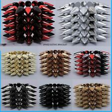 Statement Multi Spike Stretch Wide Long Punk Gothic Bangle Bracelet Hip Hop Cool