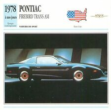 Pontiac Firebird Trans Am G.M. V8 Sport 1978 USA CAR VOITURE CARTE CARD FICHE