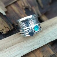 Blue Topaz  925 Sterling Silver Spinner Ring Meditation Statement Jewelry A2