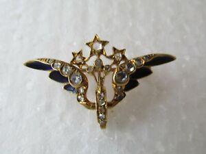 Antique Gold Diamond & Enamel Winged Wheel Design Brooch w Box valuation $6,200
