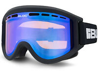 BLOC Ski Goggles AERO Medium Fit Matte Black/ Blue Mirror Double Lens AO4